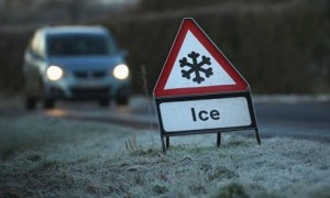 An icy road  in Knutsford, Cheshire